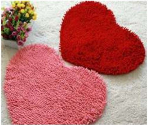 Microfiber Chenille Heart Shaped Rugs