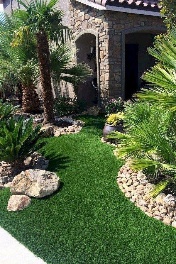 50 Attractive Tropical Landscaping Ideas To Refresh Your Yard 1 In 2020 Palmen Garten Garten Gartengestaltung