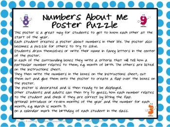 Create a Numbers About Me Poster as a back to school activity. From Back to School Math About Me - a collection of printable math activities by Games 4 Learning. $