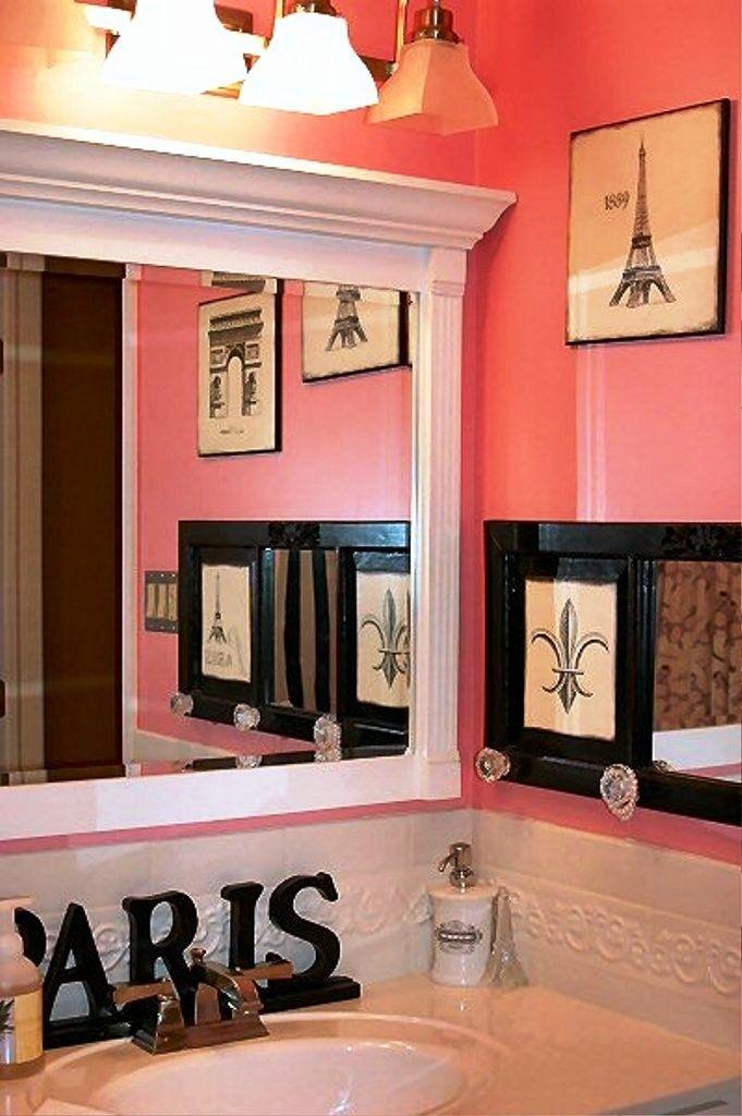 Paris Decor For Bathroom Luxury Paris Themed Wall Decor For Bathroom I Love The Framed Mirror Bathr Bathroom Decor Neutral Bathroom Decor Bathroom Mirror Frame