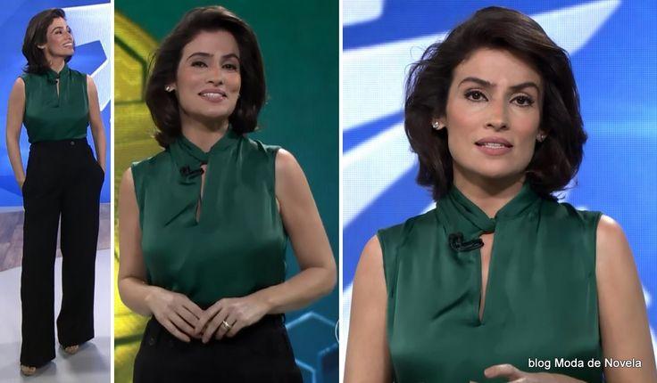 Look da Renata Vasconcellos no Fantástico dia 29 de junho