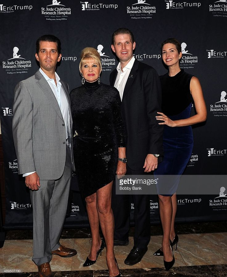 Donald Trump Jr., Ivana Trump, Eric Trump and Ivanka Trump attends the 9th Annual Eric Trump Foundation golf invitational at Trump National Golf Club Westchester on September 21, 2015 in Briarcliff Manor City.