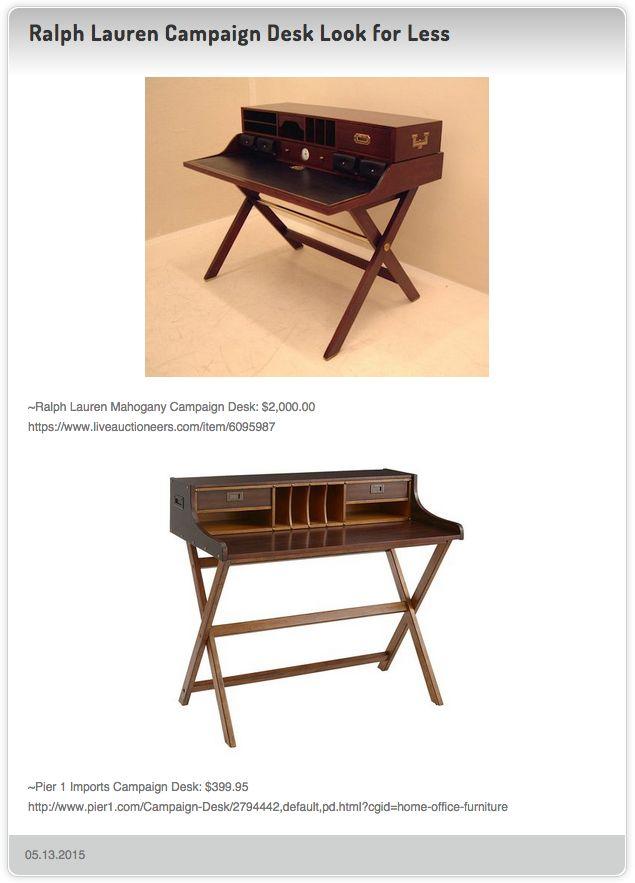 Ralph Lauren Mahogany Campaign Desk 2 000 00 Vs Pier 1