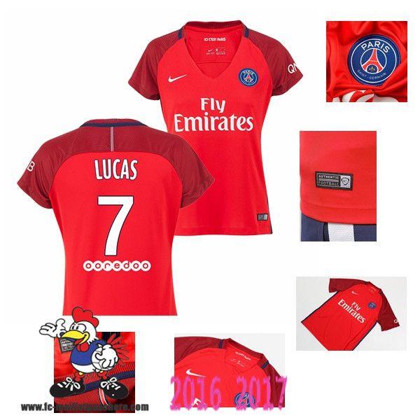 Vente Nouveau Maillot Football Paris Saint-Germain Rouge Femme (LUCAS 7)…