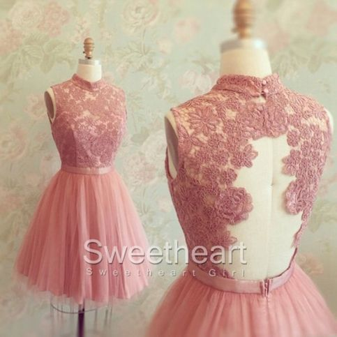 A-line Lace Tulle Short Prom Dresses,Homecoming Dresses #prom #homecoming #dress #evening #formaldress #promdresses
