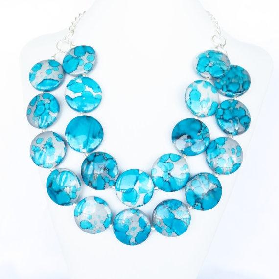 Summer Jewelry  Turquoise Bib Necklace  by WildflowersAndGrace, $29.00