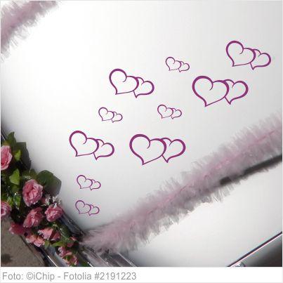 Autoaufkleber Hochzeit - filigrane Herzen 15er Set