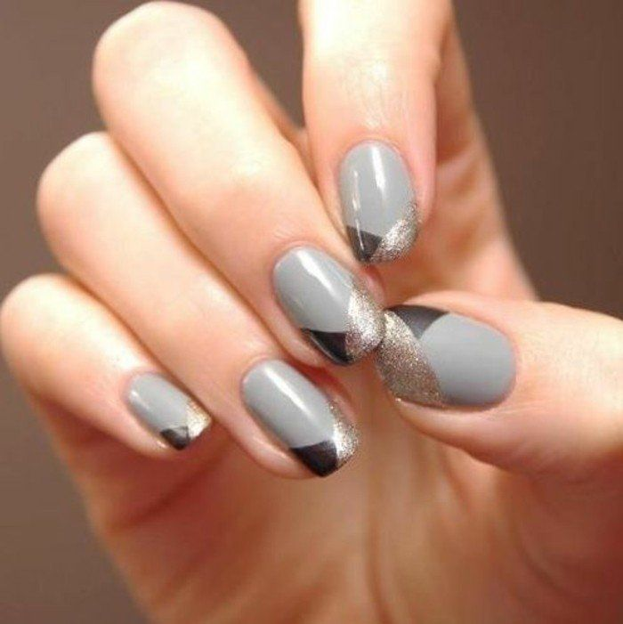decoration ongles gris