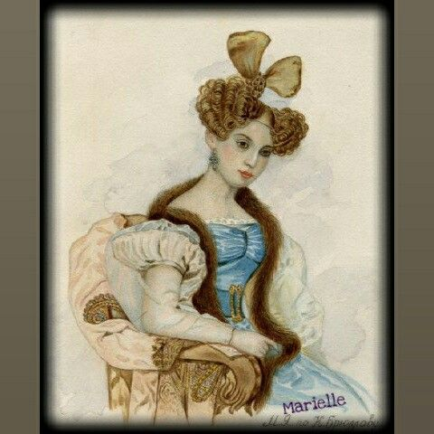 """""""Lady in blue"""", water-colour, copy of K.Brullov"""