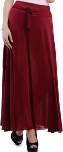 Addyvero Solid Women Gathered Maroon Skirt
