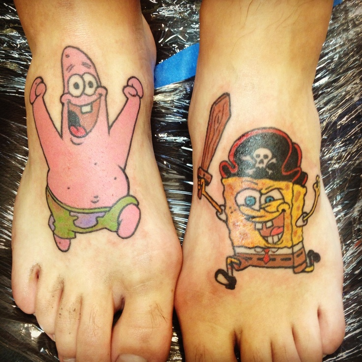 Tattoo By Patrick Cornolo: 14 Best Awesome Spongebob Tattoos Images On Pinterest
