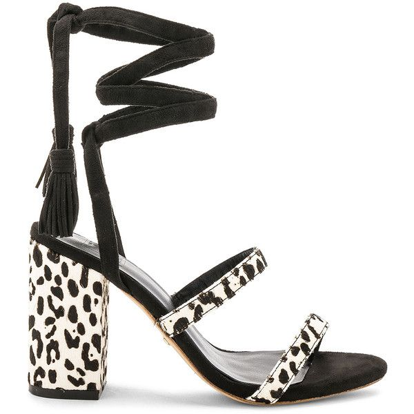 RAYE x STONE_COLD_FOX Henna Calf Hair Sandal ($180) ❤ liked on Polyvore featuring shoes, sandals, heels, leather sole shoes, high heeled footwear, tassel heeled sandals, high heel sandals and wrap sandals