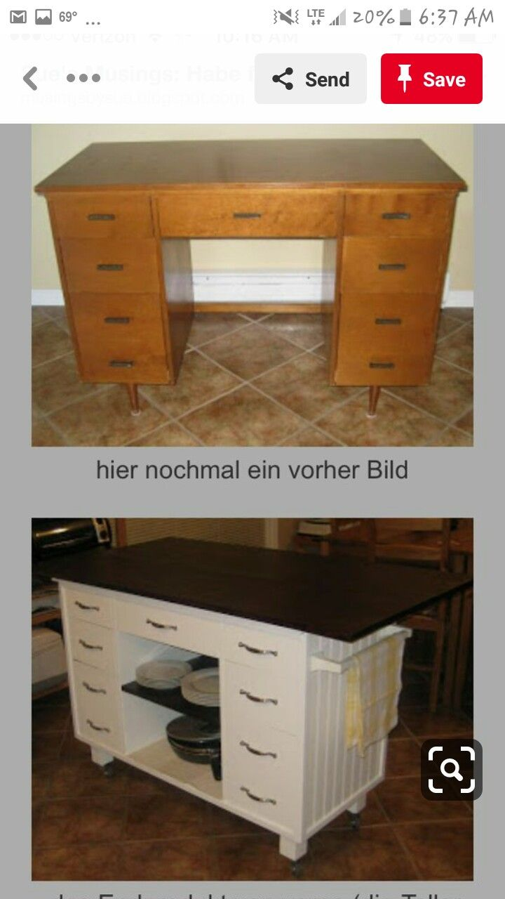 Old Desk Repurposed Into A Kitchen Island Furniture Makeover