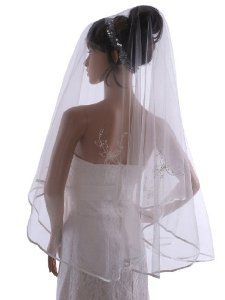 Topwedding 1 Tier Waltz Wedding Veil with Pearl and Embroidery, Ivory by Topwedding. $13.99. Illusion tulle without comb. Embellishment with embroidery and satin hem. Width of 63 inches/160cm. Unique headpieces and wedding gift for bridal and bridesmaid. Length of 71 inches/180cmx160cm (71x63 inch). Simple yet elegant bridal veil will pleased you. Exquisite embroidery decorates the veil. Satin edge looks charming and enchanting. It is easy to match with most of weddi...