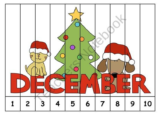 Christmas Number Order Puzzles FREEBIE from Klever Kiddos on ...
