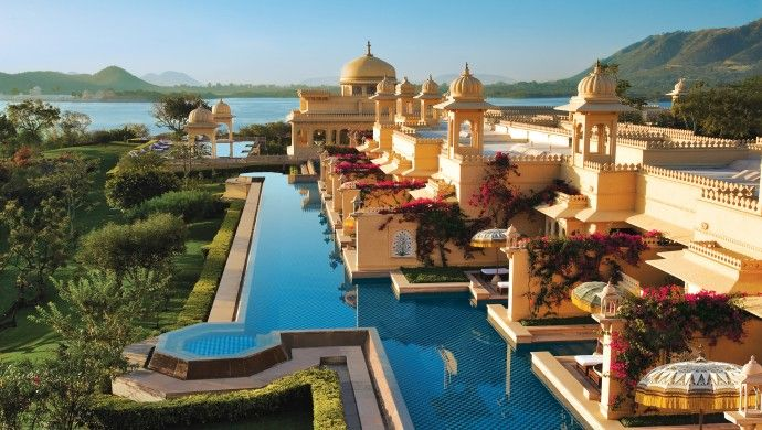 Maharaja Luxury Journey: The Oberoi, Udaivilas, is a Rajput-style hotel set on 30 acres of lush gardens.
