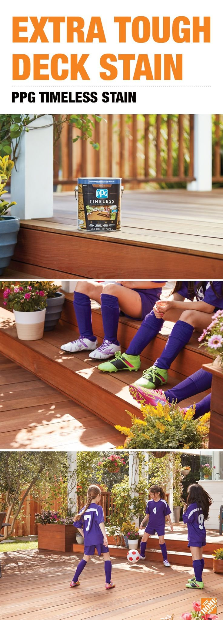 Choose a deck stain that's tough enough for anything your deck faces– from hard weather to hard wear. It's new PPG Timeless Stain, from a brand trusted by pros for over 100 years. Only at The Home Depot.