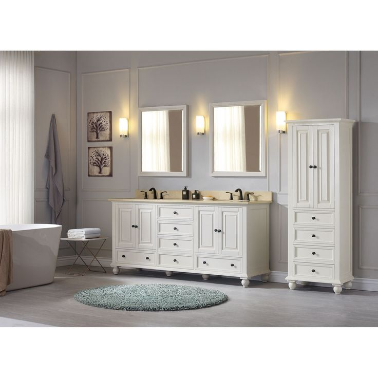 modern bathroom fountain valley reviews%0A Avanity Thompson  double  French White Transitional Bathroom Vanity with  Top Option