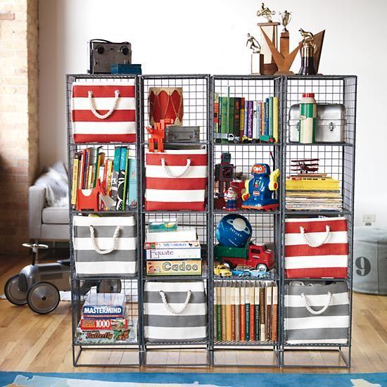 Kids Bookcase: Grey Steel Wire Bookcase in Bookcases u0026 Caddies | The Land  of Nod