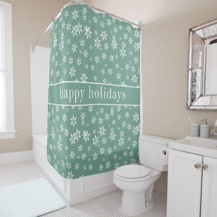Happy Holidays | Christmas Reindeer Chevron Shower Curtain - winter gifts style special unique gift ideas