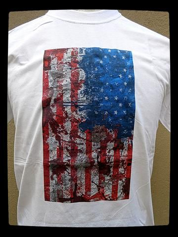 US Flag Splattered Printed on White or Blue T-shirt at www.lonesoldierclothing.co.za