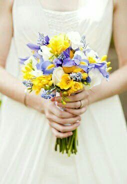 Pretty & Petite Wedding Bouquet: Yellow Freesia, Yellow Craspedia, Yellow/Blue-Violet Iris, Blue Muscari Hyacinth & White Roses