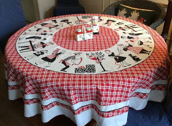 Merveilleux Vintage Round BBQ Tablecloth Mid Century Fun Scenes Around The Grill