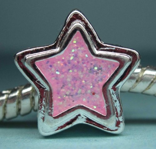 Polished Silver Pink Glitter Enamel Star Charm Spacer Bead Compatible with Pandora, Troll, Chamilia, Biagi and Other Italian Jewelry by Bead It!, http://www.amazon.com/dp/B00AUL3ITE/ref=cm_sw_r_pi_dp_Z7udrb14B5BFY