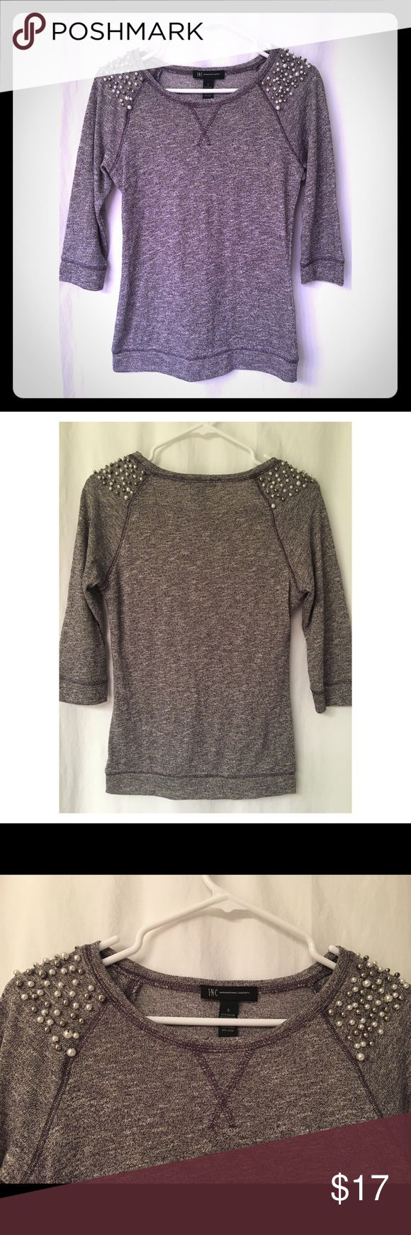 Macys INC sweater with beaded shoulders! Beautiful grey/metallic INC sweater. In excellent condition! Worn once! Beautiful beading and detail on shoulders. Size S. INC International Concepts Sweaters Crew & Scoop Necks