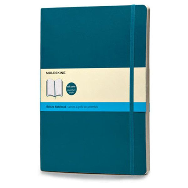 The flexible version of the beloved notebooks, in color. This Underwater Blue version of the Soft Cover extra large notebook is flexible and sturdy, making it the perfect travel companion. Use the dot
