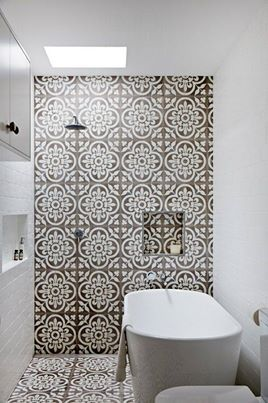 This is so perfect for a really small bath. I love the printed tile on the wall...but it's overkill on the floor...maybe a dark slate floor that matches the darker color in the print...yup love it.