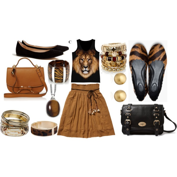 """""""Lion shirt and brown skirt outfit"""" by esperanzandrea on Polyvore"""