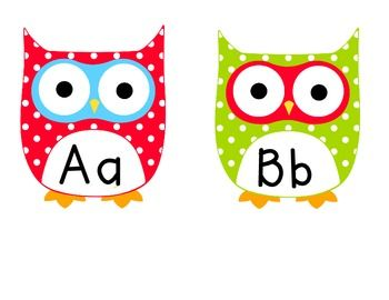Free Word Wall Alphabet | Multi Colored Polka Dot Owl Word Wall Letters