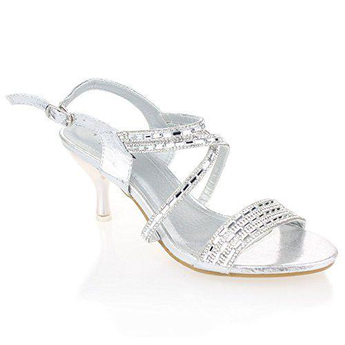 Mariage Aarz femmes Mesdames Soirée Diamante Sandales à talons bas Prom Party chaussures de mariée Taille (noir, argent, or)