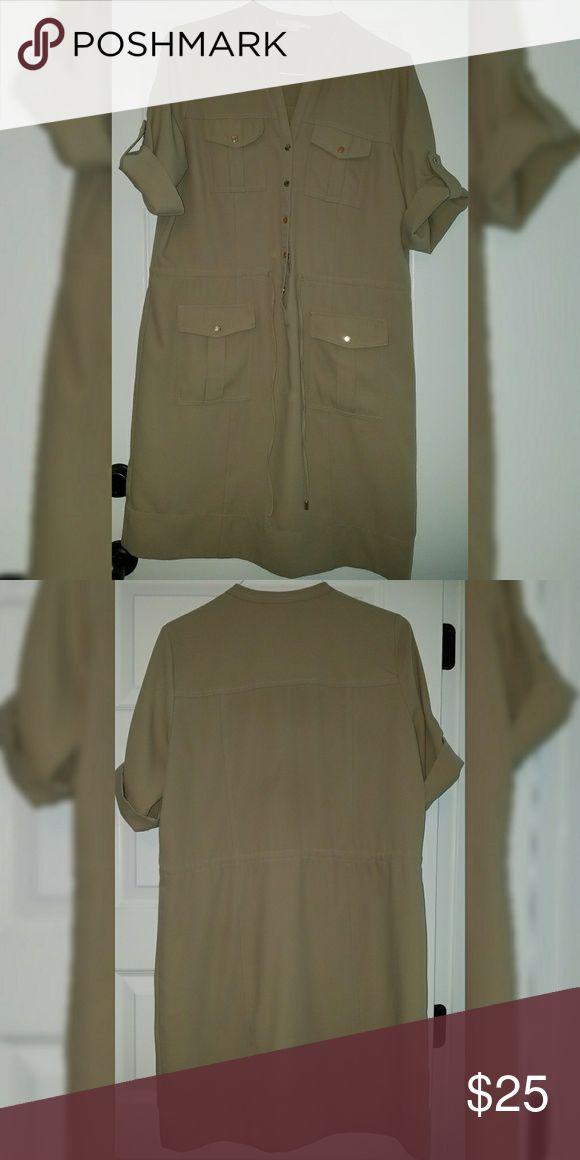 Michael Kors Safari Shirt dress Michael Kors khaki shirt dress with drawstring and gold button detail. Missing one cap on drawstring. Michael Kors Dresses