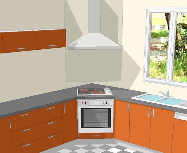 Croquis de la cuisson en angle dans une cuisine