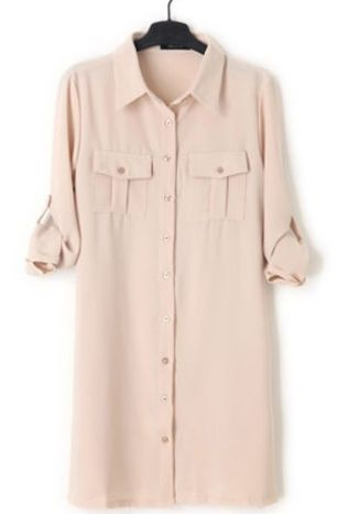 Apricot Lapel Long Sleeve Drawstring Shirt Dress