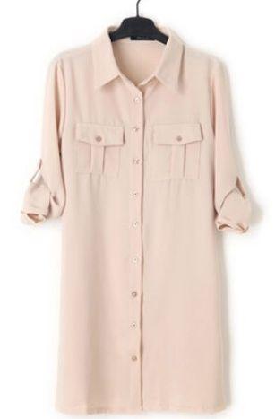 Apricot Lapel Long Sleeve Drawstring Shirt Dress