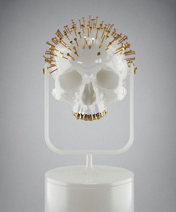 Gold   ゴールド   Gōrudo   Gylden   Oro   Metal   Metallic   Shape   Texture   Form   Composition   Skull 333 © Hedi Xandt