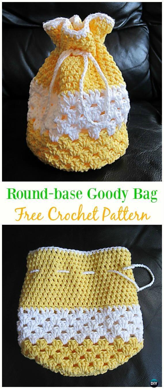 Round-base Goody Bag Free Crochet Pattern -#Crochet Drawstring #Bags Free Patterns