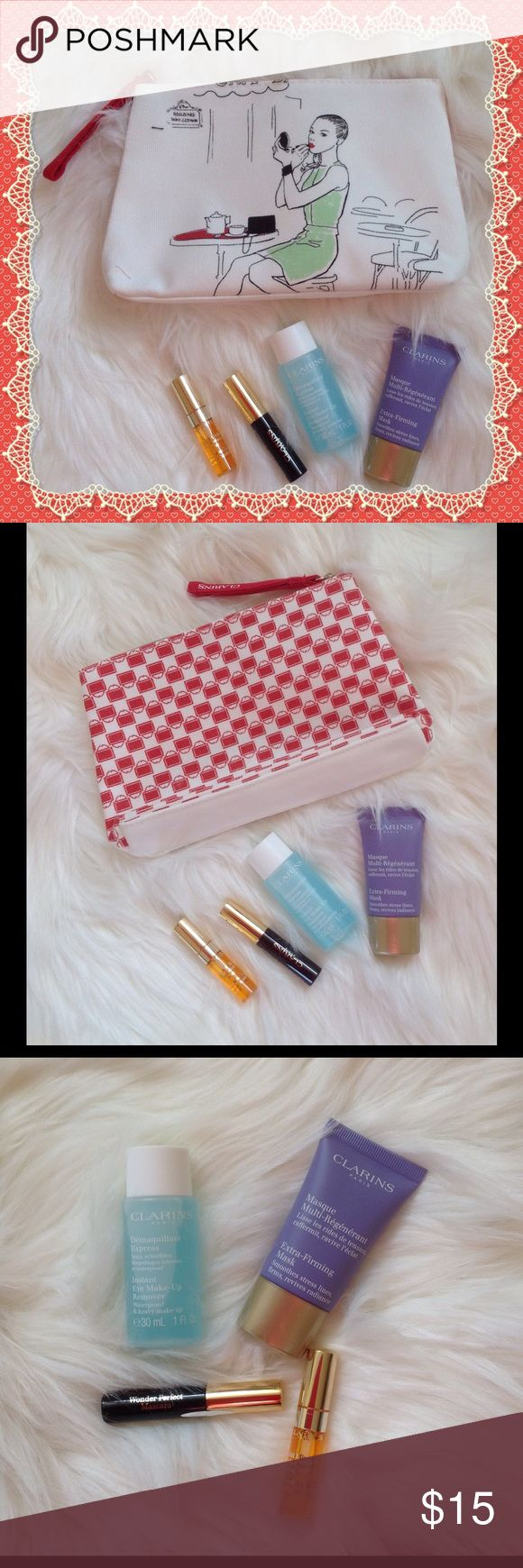 Clarins Beauty Bundle, NWOT Clarins Beauty Bundle includes Wonder Perfect Mascara (sample size), Extra Firming Mask (0.5 oz.), instant Make Up Remover ( 1 oz); Instant Lip Comfort Oil (sample size) plus a super cute Cosmetic Bag. Clarins Makeup