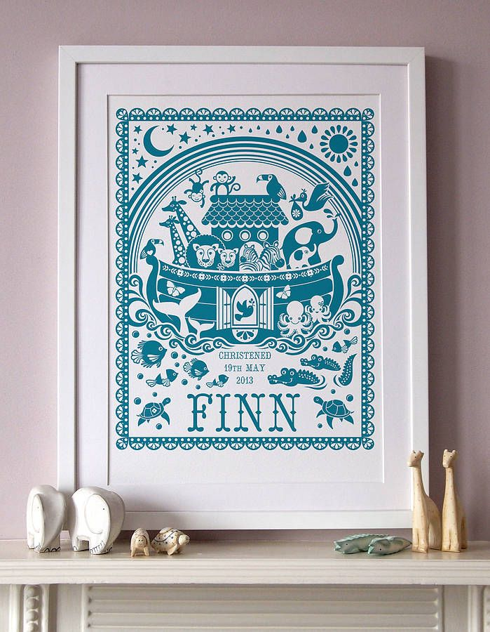 Last orders for Christmas: Monday 16th December This adorable Noah's ark print beautifully captures this much loved bible story. £22.40