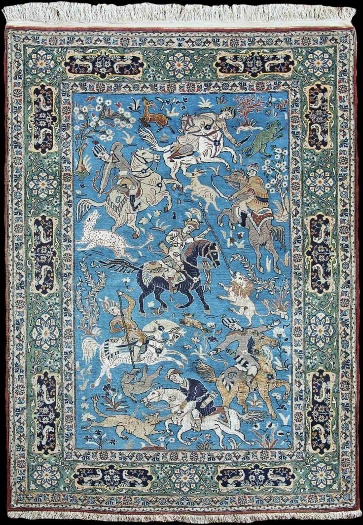 Beautiful Qum #rug, Persia, w/ silk used to weave detailed horses & people c1930 at Farnham Antique Carpets #wishlist