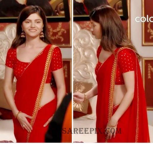 rubina dilaik red saree from shakti
