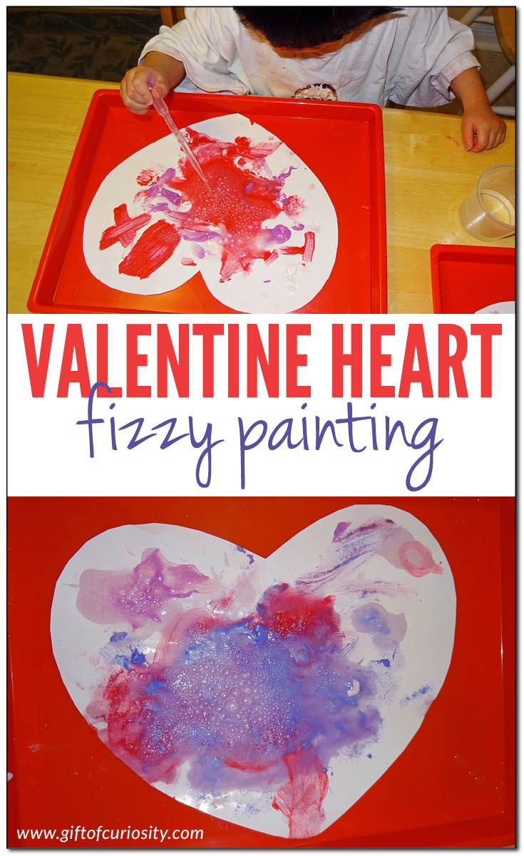 Valentine Heart Fizzy Painting Science Projects For Preschoolers