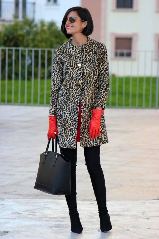 Leopard Coat, Red Gloves, Black leggings & Boots