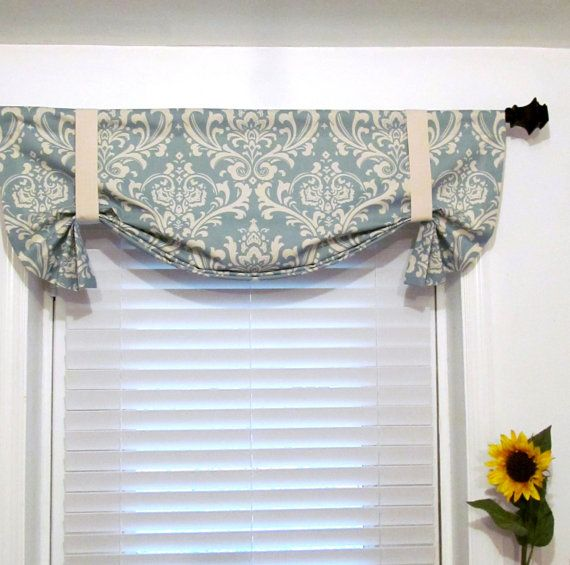 Tie Up Curtain Valance Village Blue Natural by supplierofdreams, $49.00