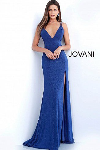 a01dbec7d4 Navy V Neck Backless Fitted Glitter Prom Dress 58557