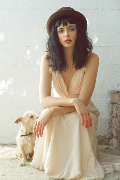 The oh so awesome Krysten Ritter. Rocking the dark hair / fair skin combo
