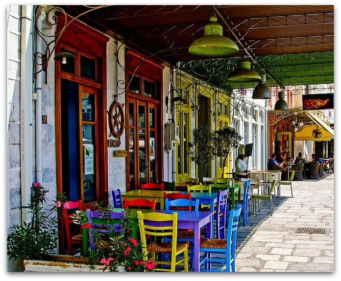 Streetside cafe in Hermoupolis, Syros Island, Greece